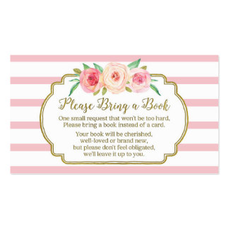 Baby Shower Book Request Card Pink Floral Stripes Pack Of Standard Business Cards