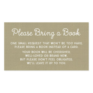 Baby Shower Book Request Card Rustic Burlap Pack Of Standard Business Cards