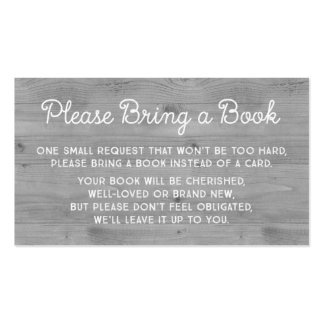 Baby Shower Book Request Card Rustic Grey Wood Pack Of Standard Business Cards