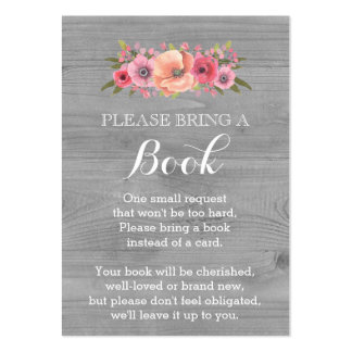 Baby Shower Book Request Card Rustic Wood Floral Pack Of Chubby Business Cards