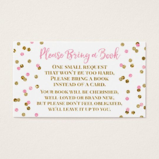 Baby Shower Book Request Pink Gold Confetti Business