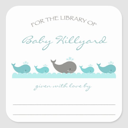 Baby Shower bookplates / turquoise grey whales Square Sticker