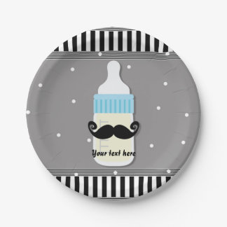 Baby Shower Bottle & Mustache Modern Plates 7 Inch Paper Plate
