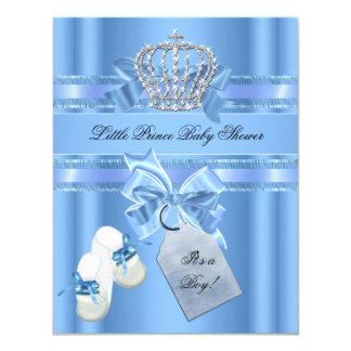 "Baby Shower Boy Baby Blue Little Prince Booties 4.25"" X 5.5"" Invitation Card"