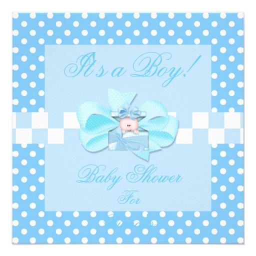 Baby Shower Boy Baby Blue White Polka Dots Check Invite