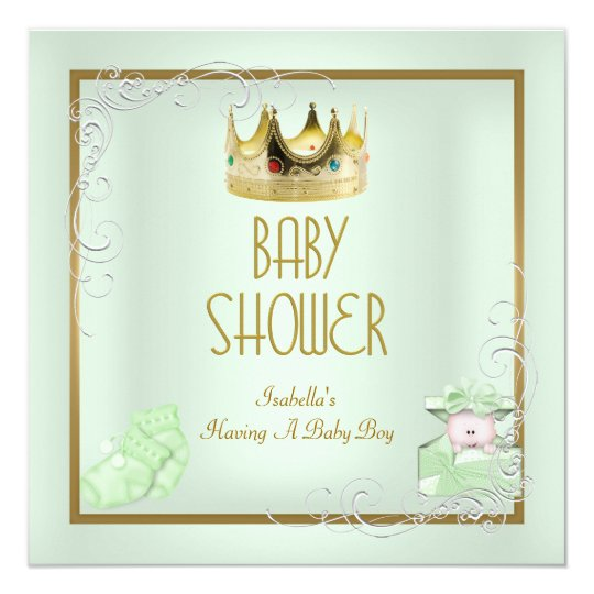 Baby Shower Boy Baby Crown Prince Mint Card