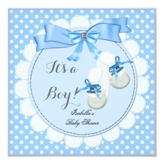 "Baby Shower Boy Blue Cute Blue Booties shoes 2 5.25"" Square Invitation Card"