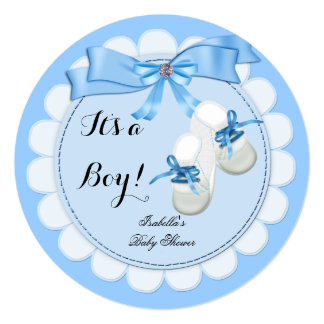 Baby Shower Boy Blue Cute Blue Booties shoes Announcement