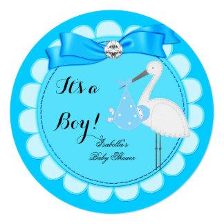 Baby Shower Boy Blue Cute Blue Boy Stork Announcement