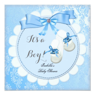 "Baby Shower Boy Blue Cute Blue Damask Booties 5.25"" Square Invitation Card"