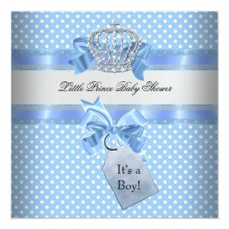 Baby Shower Boy Blue Little Prince Crown 13 Cm X 13 Cm Square Invitation Card