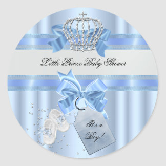 Baby Shower Boy Blue Little Prince Crown 3a Classic Round Sticker