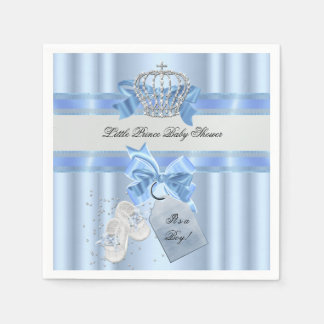 Baby Shower Boy Blue Little Prince Crown 3a Paper Napkin