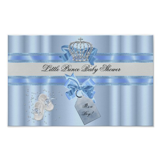 Baby Shower Boy Blue Little Prince Crown 3a
