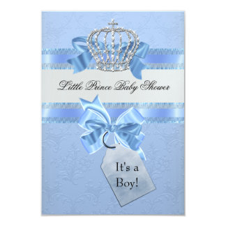 Baby Shower Boy Blue Little Prince Crown Card