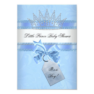 Baby Shower Boy Blue Little Prince Crown Damask 3.5x5 Paper Invitation Card