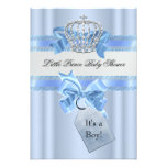 Baby Shower Boy Blue Little Prince Crown Personalized Announcements