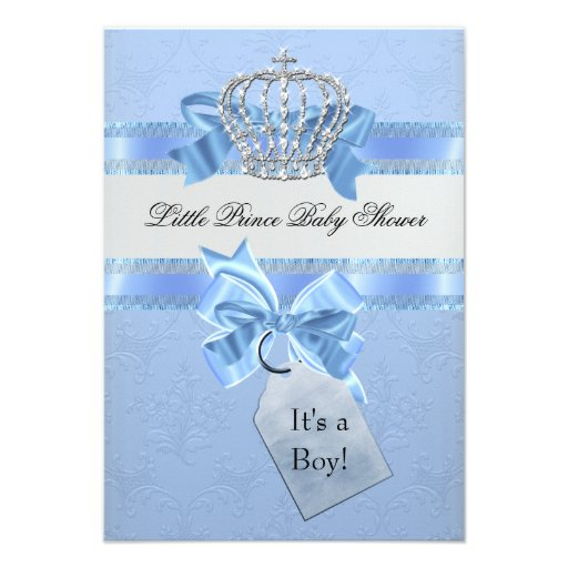 Baby Shower Boy Blue Little Prince Crown Announcements