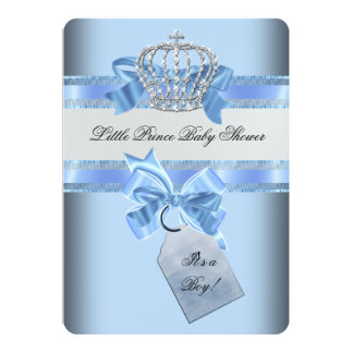 "Baby Shower Boy Blue Little Prince Crown 5"" X 7"" Invitation Card"