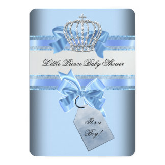 Baby Shower Boy Blue Little Prince Crown 5x7 Paper Invitation Card