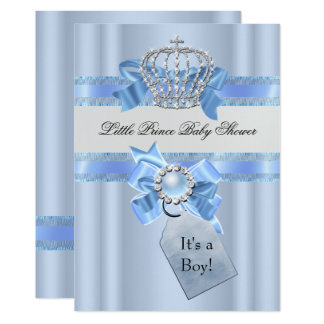 Baby Shower Boy Blue Little Prince Crown NEW Card