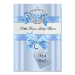 Baby Shower Boy Blue Little Prince Crown SML 9 Cm X 13 Cm Invitation Card