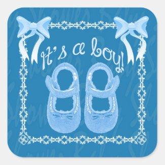 Baby shower boy blue square sticker