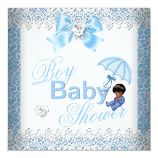 Baby Shower Boy Blue White African American 13 Cm X 13 Cm Square Invitation Card