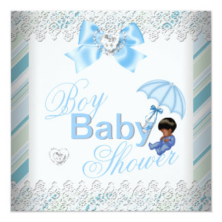 Baby Shower Boy Blue White African American 5.25x5.25 Square Paper Invitation Card