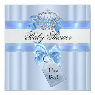Baby Shower Boy Blue White Prince Crown 13 Cm X 13 Cm Square Invitation Card