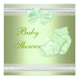 "Baby Shower Boy Girl Baby Mint Booties 5.25"" Square Invitation Card"