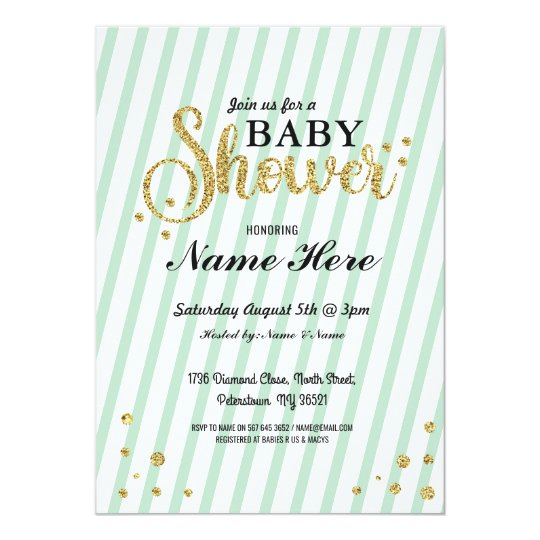Baby Shower Boy Girl Gender Reveal Mint Invite
