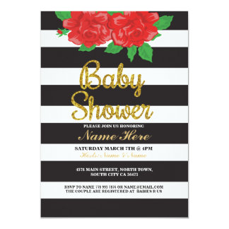 Baby Shower Boy Girl Twin Stripe Gold Roses Invite