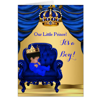 Baby Shower Boy Little Prince Royal Blue Folded Card