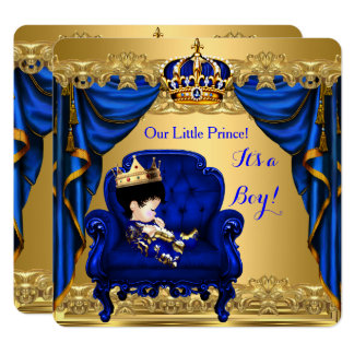 Baby Shower Boy Little Prince Royal Blue Golden 2 Card