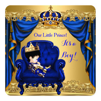 Baby Shower Boy Little Prince Royal Blue Golden 2 Card