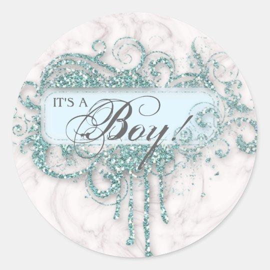 Baby Shower Boy Marble Blue Glitter Confetti Classic