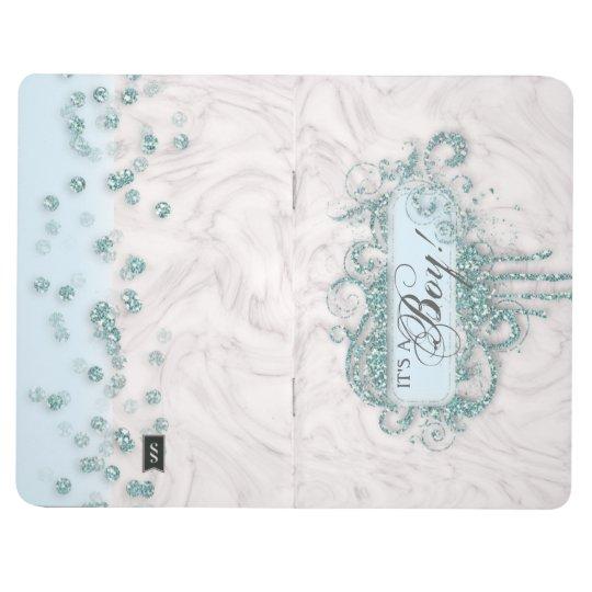 Baby Shower Boy Marble Blue Glitter Guest Book
