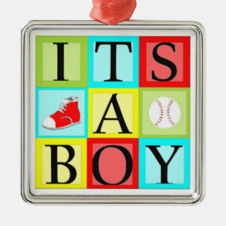 baby shower boy Silver-Colored square decoration