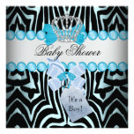 Baby Shower Boy Zebra Blue Prince Crown Black