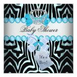 Baby Shower Boy Zebra Blue Prince Crown Black