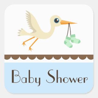 Baby shower boys blue stork stickers seals