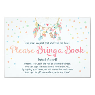 Baby Shower Bring a Book Card Dreamcatcher Boho