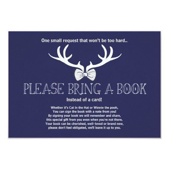 Baby Shower Bring a book Deer Bowtie Navy