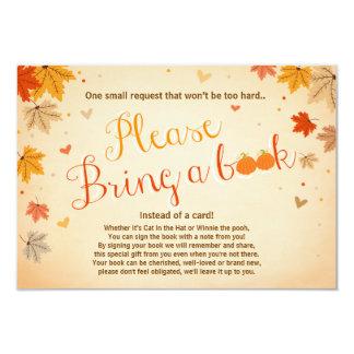 Baby Shower Bring a book Fall Autumn Leaves 9 Cm X 13 Cm Invitation Card