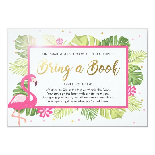 Baby Shower Bring a Book Flamingo Tropical Pink