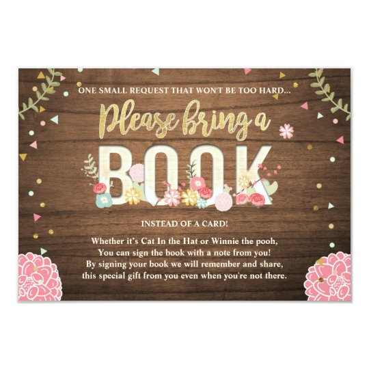 Baby Shower Bring a book Garden Wood Flowers