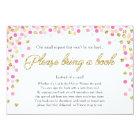 Baby Shower Bring a book Pink Gold Glitter Girl Card
