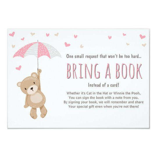 Baby Shower Bring a Book Teddy Bear Pink