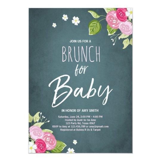 Baby shower brunch invitation Floral Rustic Pink